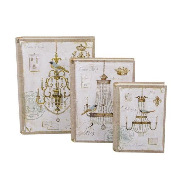 Sada 3 úložných krabic Chandelier Book