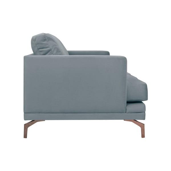 Šedá trojmístná pohovka s podnožím ve zlaté barvě Windsor & Co Sofas Jupiter