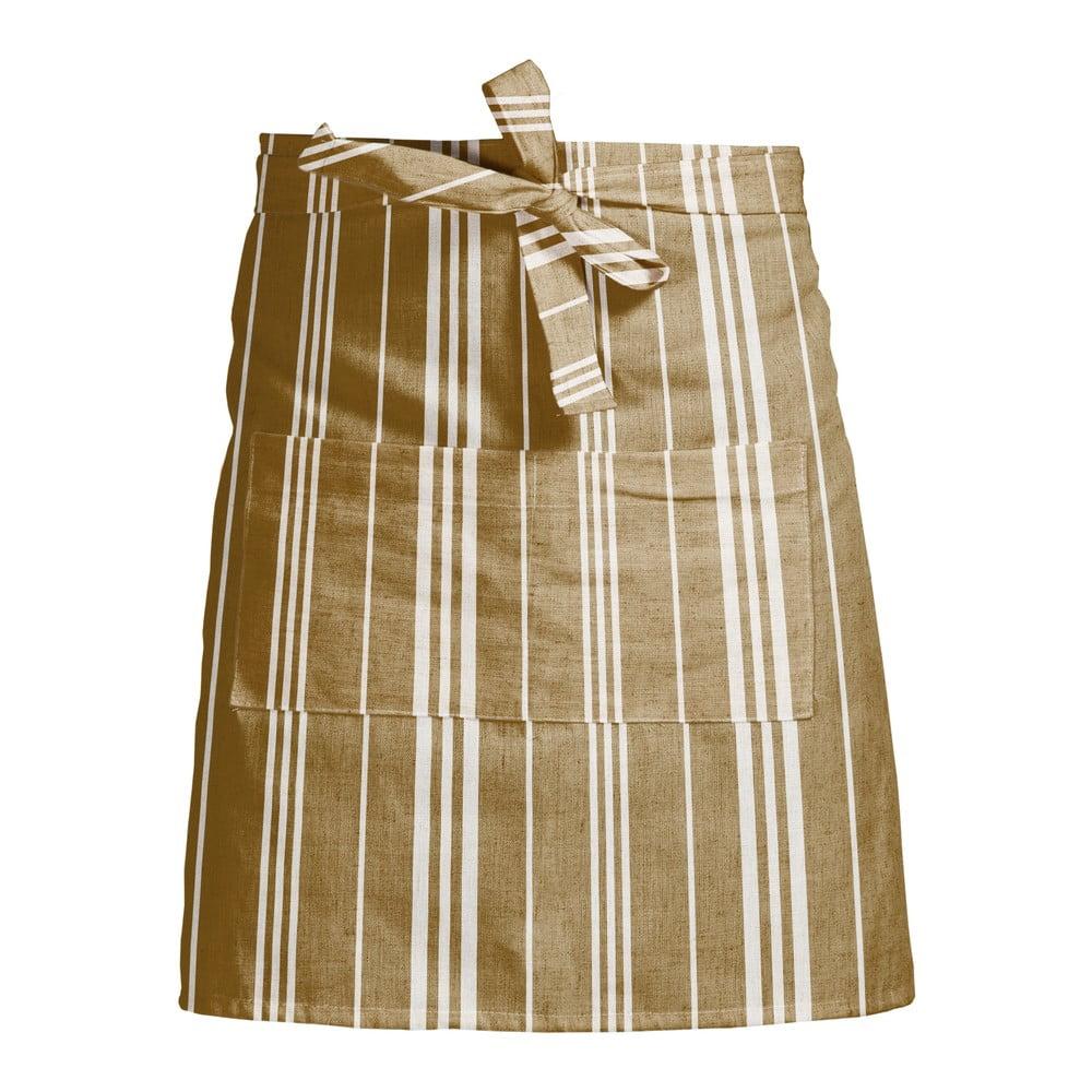 Žlutě pruhovaná zástěra s příměsí lnu Linen Couture Delantal White Stripes