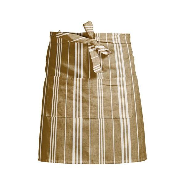 Żółty fartuch kuchenny w paski z domieszką lnu Linen Couture Delantal White Stripes