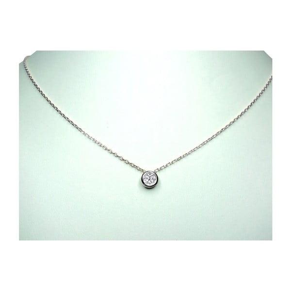 Náhrdelník s diamantem, stříbrný