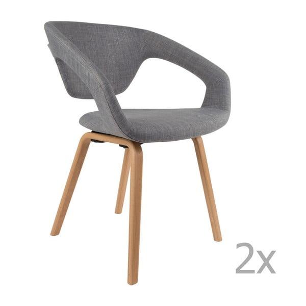 Sada 2 šedých židlí Zuiver Flexback