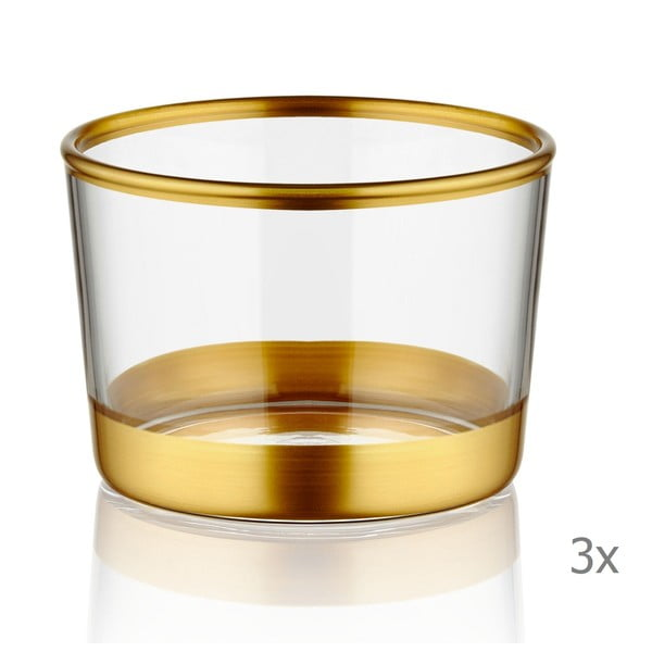 Sada 3 panáků Mia Glam Gold, ⌀ 8 cm