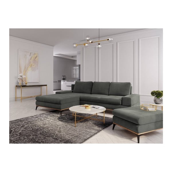 Tmavě šedý puf Windsor & Co Sofas Planet