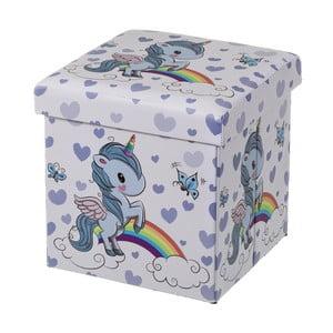 Modrý dětský puf s úložným prostorem Unimasa Unicorn