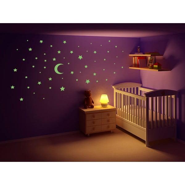 Svítící samolepka Hvězdy a měsíc, 60x30 cm