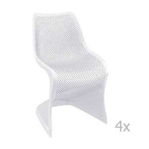 Sada 4 bílých zahradních židlí Resol Bloom