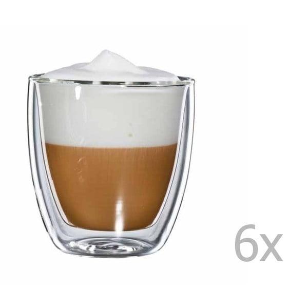 Sada 6 skleněných hrnků na cappuccino bloomix