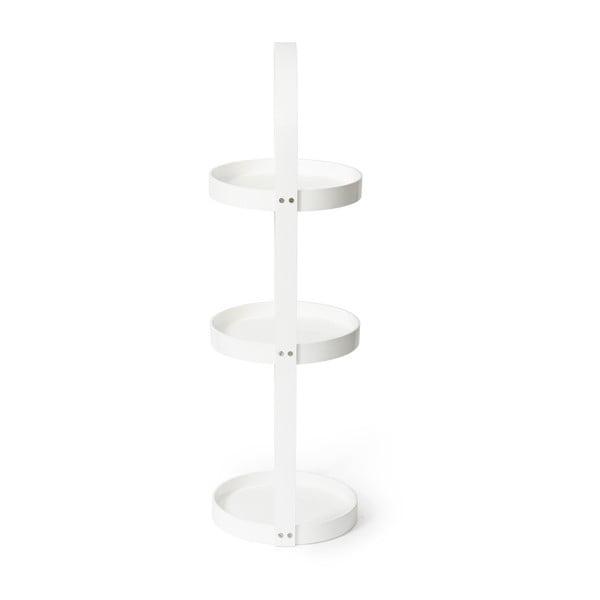 Bílý dřevěný kulatý třípatrový stojan Wireworks Mezza