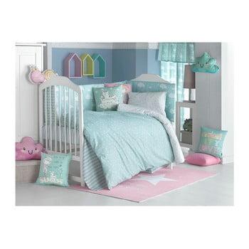 Lenjerie de pat cu cearceaf pentru copii Apolena Carino, 90 x 120 cm, turcoaz