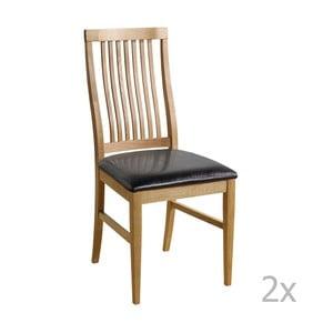 Set 2 scaune cu șezut negru  Folke Kansas, culoare naturală