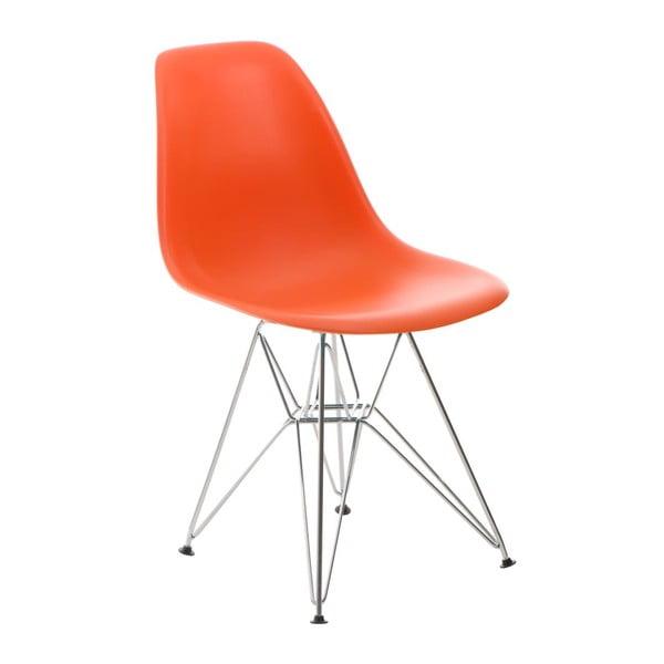 Oranžová židle D2, chromové nohy