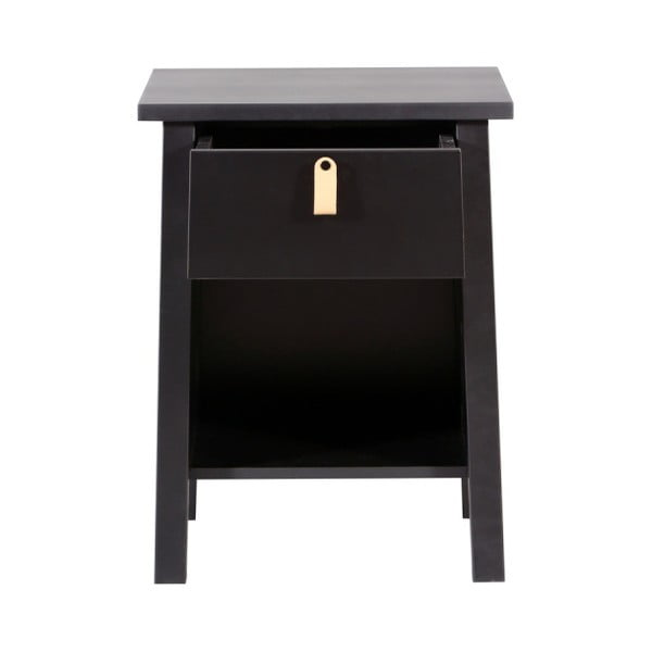 Černý dřevěný noční stolek We47 Saima