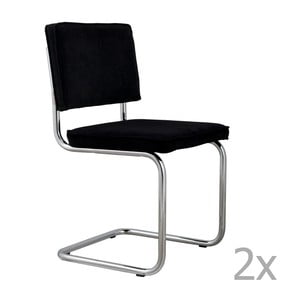 Sada 2 černých  židlí Zuiver Ridge Rib