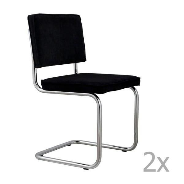 Set 2 scaune Zuiver Ridge Rib, negru