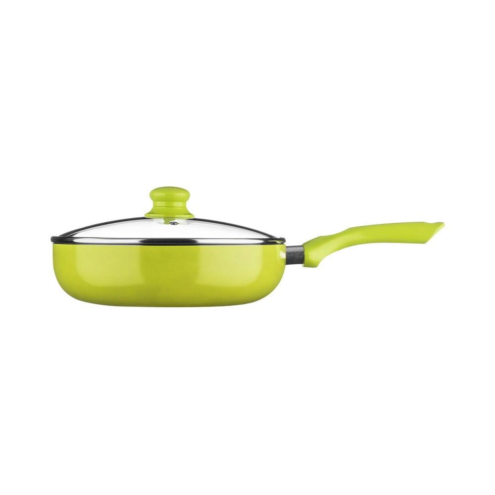 Zelená pánev s poklicí Premier Housewares, ⌀ 45 cm