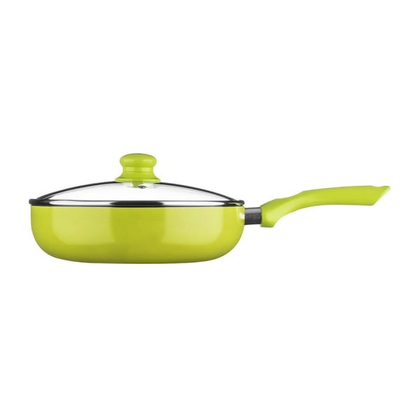 Zelená pánev s poklicí Premier Housewares, ⌀26cm