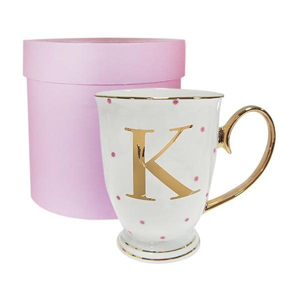 Písmenkový   hrnek K s růžovými puntíky