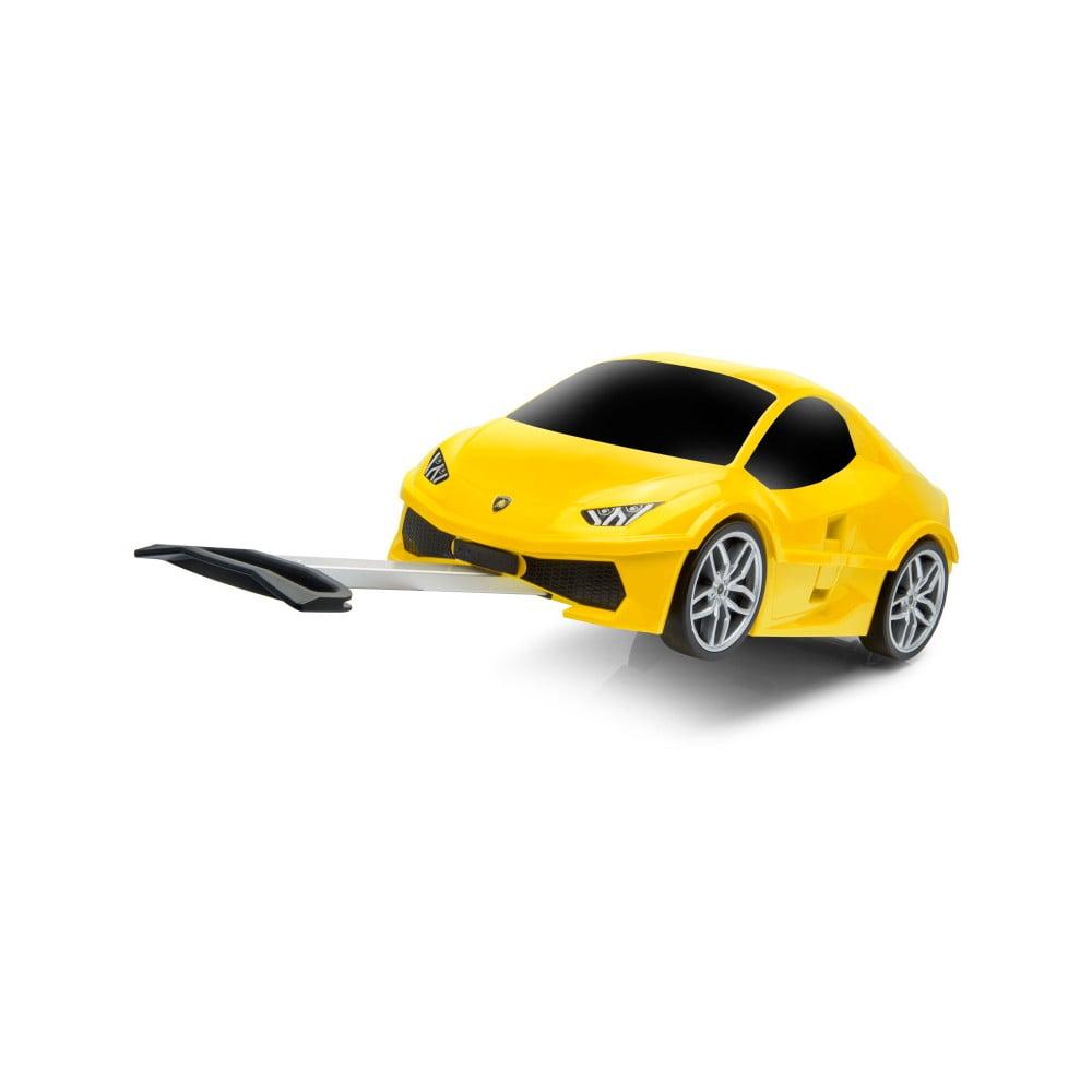 Žlutý dětský kufr na kolečkách ve tvaru auta Packenger