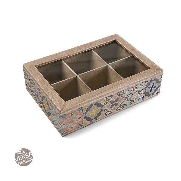 Dřevěný úložný box na čaj s 6 přihrádkami Versa Tea