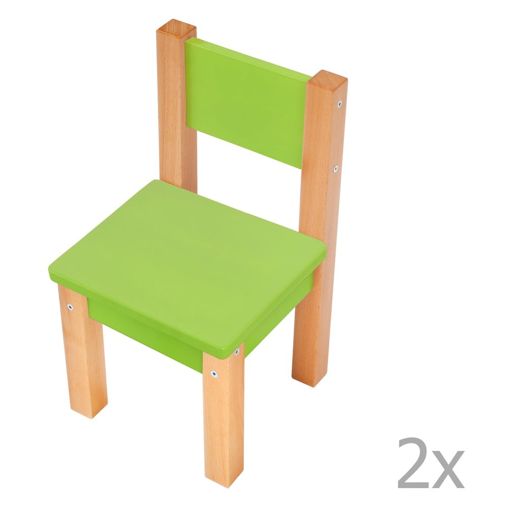 Sada 2 zelených dětských židliček Mobi furniture Mario