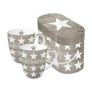Sada 2 hrnků z kostního porcelánu s vánočním motivem v dárkovém balení PPD Merry Christmas Stars, 350 ml