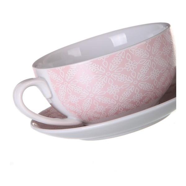Set růžové porcelánové konvičky, hrnečku a podšálku Unimasa Tea, 450ml