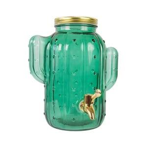 Zelená skleněná nádoba s pípou Fisura Cactus Cristal Verde