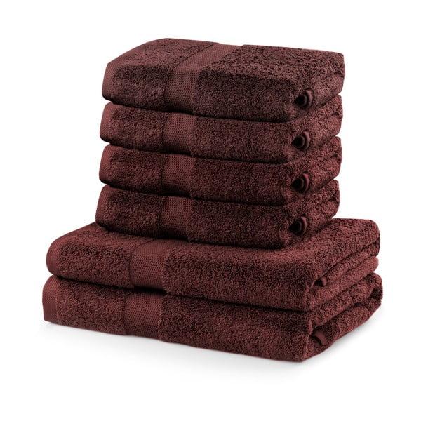 Komplet 2 brązowych ręczników kąpielowych i 4 ręczników DecoKing Marina