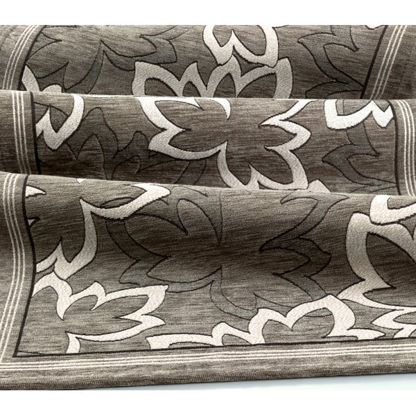 Šedohnědý vysoce odolný kuchyňský koberec Webtappeti Maple Fango,55x240cm