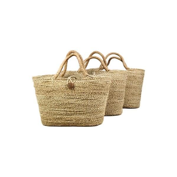 Sada 3 úložných košů z mořské trávy HSM collection Basket Set