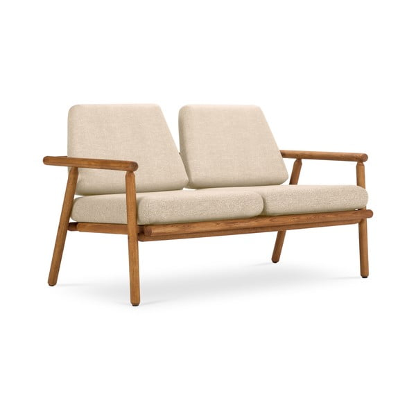 Canapea cu 2 locuri pentru exterior, construcție lemn masiv de salcâm Calme Jardin Capri Premium, bej