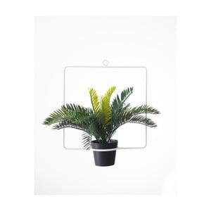 Bílá závěsná dekorace ve tvaru čtverce s květináčem Surdic, 30 x 35 cm