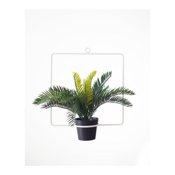 Biela závesná dekorácia v tvare štvorca s kvetináčom Surdic, 30×35 cm