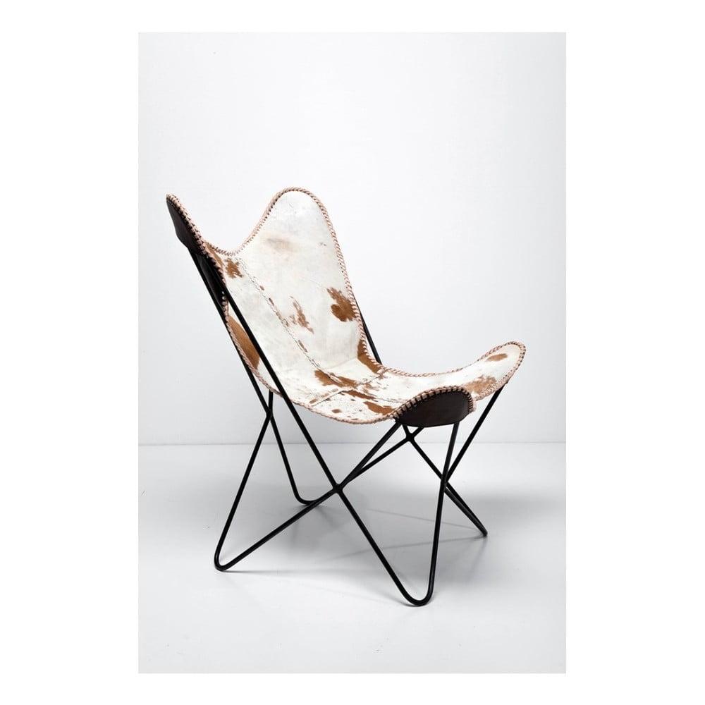 Hnědo-bílé kožené křeslo Kare Design Butterfly Fur thumbnail
