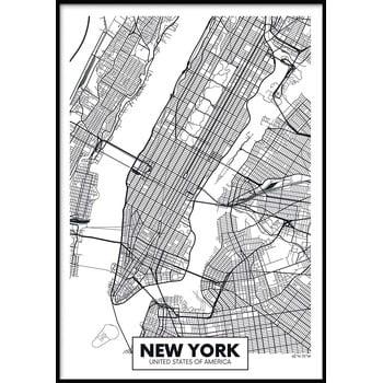 Poster cu ramă pentru perete MAP/NEWYORK, 50 x 70 cm