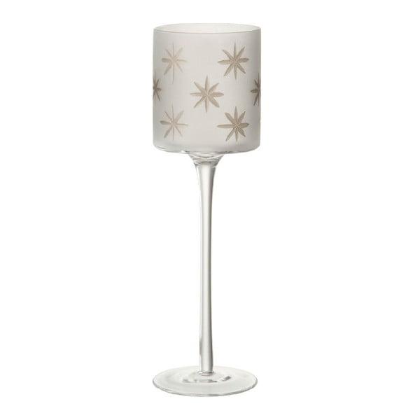 Skleněný svícen na čajovou svíčku J-Line Star, výška 30 cm