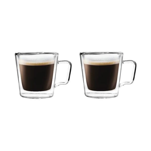 Set 2 cești pentru espresso din sticlă dublă Vialli Design, 80 ml