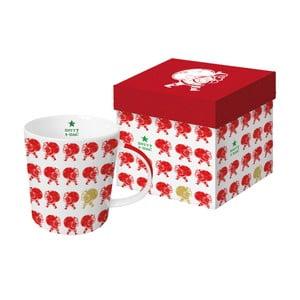 Hrnek z kostního porcelánu s vánočním motivem v dárkovém balení PPD Scandic Santa Red, 350 ml