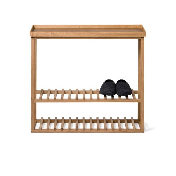 Regał na buty z półką z drewna dębowego Wireworks Hello Storage