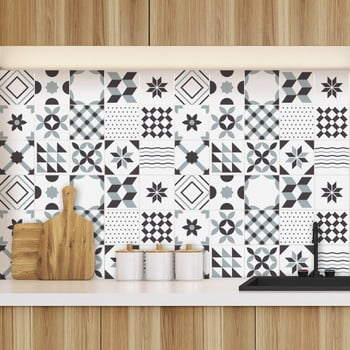 Set 60 autocolante pentru perete Ambiance Geometric Tiles Shade of Gray 10 x 10 cm