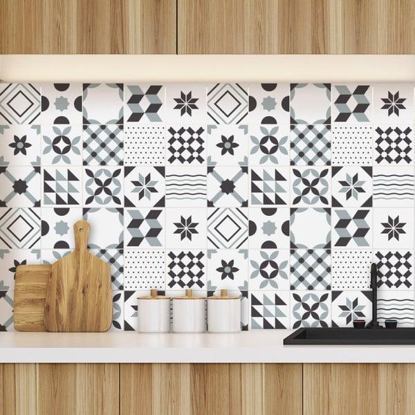 Set 60 autocolante pentru perete Ambiance Geometric Tiles Shade of Gray, 10 x 10 cm