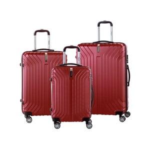 Sada 3 červených cestovních kufrů na kolečkách se zámkem SINEQUANONE