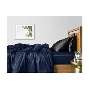 Modro-černé bavlněné povlečení na dvoulůžko s modrým prostěradlem COSAS Maro, 200 x 220 cm