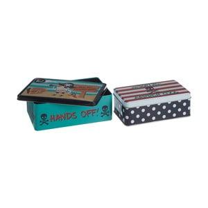 Sada 2 cínových úložných boxů Premier Housewares Pirate, 13 x 20 cm