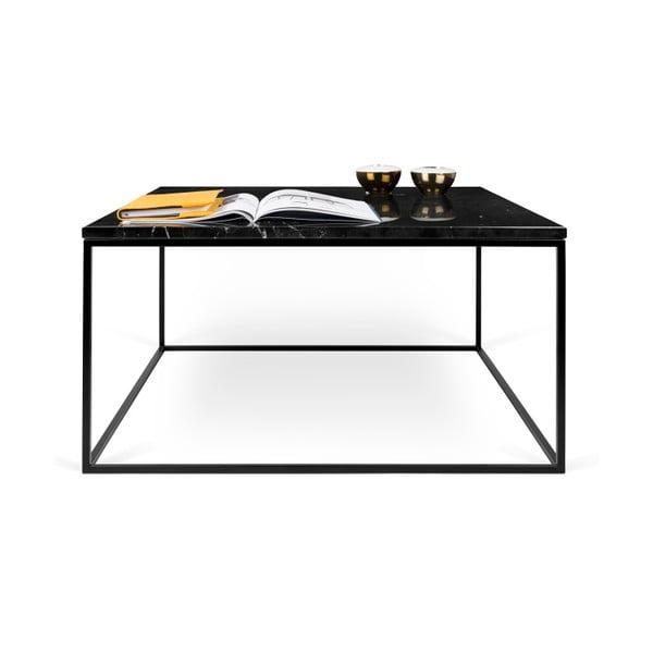 Černý mramorový konferenční stolek s černými nohami TemaHome Gleam, 75 cm