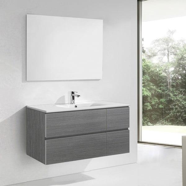 Koupelnová skříňka s umyvadlem a zrcadlem Capri, odstín šedé, 120 cm