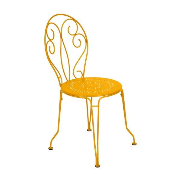 Žlutá kovová židle Fermob Montmartre