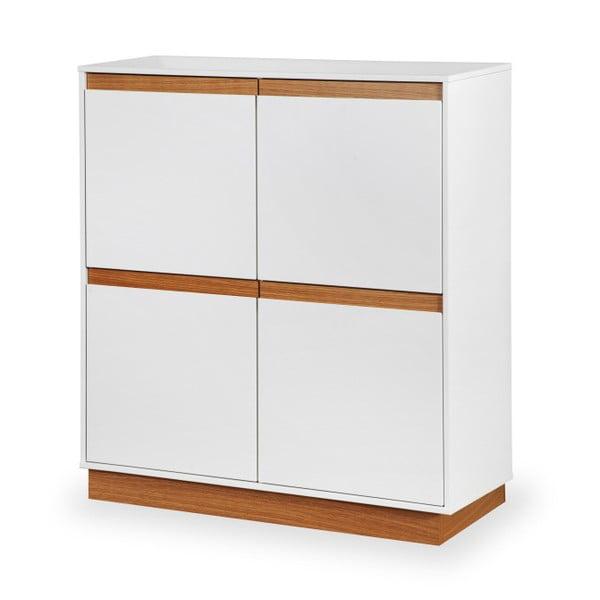 Biała szafka z cokołem i drewnianymi szczegółami Dřevotvar Ontur 42