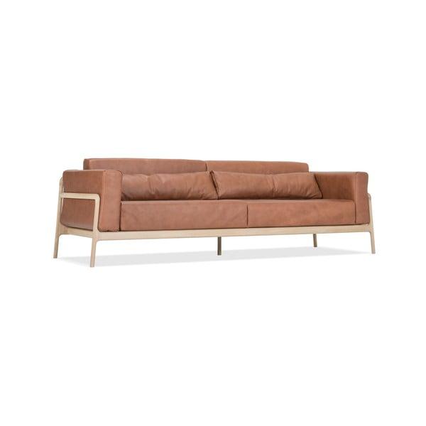 Karmelowa sofa z bawolej skóry z konstrukcją z litego drewna dębowego Gazzda Fawn, 240 cm